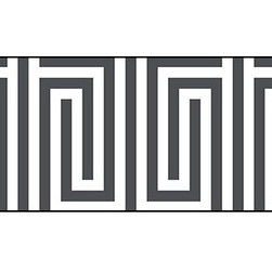 Casart coverings - Mini Maze Wallcoverings, Anchor Gray/White, Border (13 Sq Ft), Casart Light - Celebrate the easy, elegant and everyday style of Libby Langdon with her fresh geometric designs on Casart repositionable, temporary and reusable wall covering. Groovy Gate is one of the four classic geometrics from the Collection, which can be custom printed on self-adhesive vinyl covering.