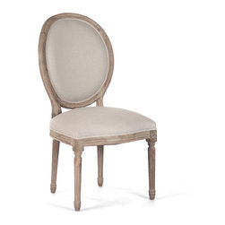 Kathy Kuo Home - Pair Madeleine French Country Oval Linen Limed Oak Dining Side Chair - This chair fuses classic European design with simple rustic charm. A natural oak finish adds an antique touch to this Louis XVI style Medallion side chair. Upholstered in natural linen, this traditional oval back chair lends elegance to a dining room, sitting area or library.