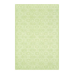 """Safavieh - Martha Stewart Gray Area Rug MSR1214C - 3'9"""" x 5'9"""" - Inspired by the architectural detailing of an antique iron gate and the bloomeries where such ironwork is made, this classic design is reinterpreted with a new approach to proportion and scale. A cut-and-loop weave rug made in China to exacting standards, Bloomery is rendered in pure cotton in soft but defined colors. This rug works equally well for casual or intimate rooms."""