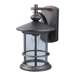 Canarm - Treehouse Oil Rubbed Bronze One-Light Outdoor Wall Light with Clear Glass - The becoming Treehouse Outdoor wall light in Oil Rubbed Bronze finish and clear glass emits welcoming bright light.  -Clear Glass  -Material: Steel/Aluminum Diecast Canarm - IOL124ORB