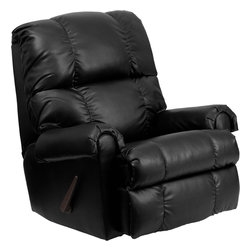 Flash Furniture - Flash Furniture Contemporary Apache Black Leather Rocker Recliner - This is a great little Rocker recliner, period. It has been built to just the right dimensions for the average sized person, but it gives all the comfort you would expect from an over-stuffed recliner. The Bonded Leather cover is very stylish, soft to the touch, and easy to clean. It is simply an outstanding value. [WM-8700-371-GG]