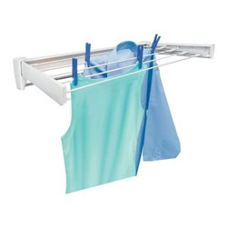 Leifheit Telefix 70 Wall Mount Retractable Clothes Dryer - With retractable wires and a wall mount, the Leifheit Telefix 70 Wall Mount Retractable Clothes Dryer is a great drying rack that will save you space. It has an unobtrusive design that looks like a standard towel rack when closed up. Hang it on your bathroom wall and never worry that it looks out of place. It only had to look like a drying rack when you need it to. Featuring 5 lines for drying your clothes, this drying rack is crafted from ABS plastic and has powder coated stainless steel rods for durability. Able to hold up to 27 pounds, this drying rack has 14 feet of drying space.Additional FeaturesWhite drying rack goes well anywhereRetractable telescoping wires14 feet of drying spaceWall mounted to save you spaceMounting hardware includedAbout LeifheitGerman company Leifheit offers superior European house wares and was established in 1959 with the United States branch opening in 1996. Their products include food preserving and canning equipment, as well as kitchen essentials and cleaning equipment. Leifheit offers innovative, quality home products that work perfectly and look good, too.