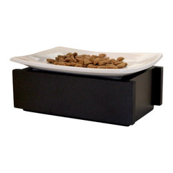 """Trendy Pet - Whisker Stress Free Bowl 4 Inch Tall Feeder, Black, 4"""" - Whisker Stress is a real problem for some cats and we have the solution. Our porcelain white plate sits on top of the modern base to rectify this situation. The plates removes easily for washing but sits sturdy on the base. Perfect flair for any decor."""