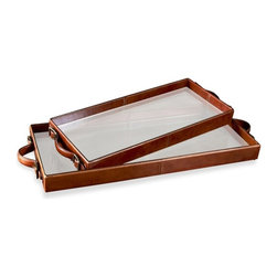 Interlude - Brighton Rectangular Tray - Small - The Brighton Trays are a unique combination of oil rubbed tan leather and glass.  The embody classic elegance with a modern twist.