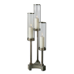 Uttermost - Risto Brushed Aluminum Candleholder - Brushed Aluminum Accents With Clear Glass Globes And Concrete Base. Distressed Beige Candles Included.