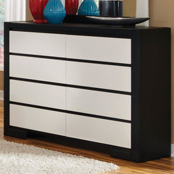 Coaster - Kimball Dresser - This impressive bedroom collection offers a new look. The group is completely upholstered and covered in black and white man-made leather giving it a fresh and unique appearance. Create an updated contemporary look in your teenager, guest or master bedroom space.