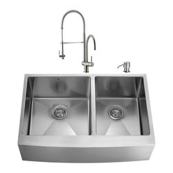"""VIGO Industries - VIGO All in One 36-inch Farmhouse Stainless Steel Double Bowl Kitchen Sink and F - Create an inviting new look in your kitchen with a VIGO All in One Kitchen Set featuring a 36"""" Farmhouse - Apron Front sink, faucet, soap dispenser, two matching bottom grids and two strainers."""