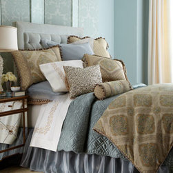 """Amity Home - Amity Home Tudor King Quilt, Approx. 105""""W x 95""""L - Bronze """"Botticelli"""" bed linens are an elaborate mixture of patterns, textures, and trimmings. Made in the USA of polyester/rayon, rayon velvet, and silk. Dry clean. Hand-quilted comforters, edged with cording, have moire backing. Striped, gathered dus..."""