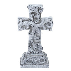 Benzara - Unique Poly Stone Cross in Beautiful White Finish - Fill your home with spiritual vibrations with this 16 in. H Unique Poly Stone Cross in Beautiful White Finish. While adding to the charm of your decor, it also offers creative elegance to your interiors through its beautiful white finish with a wash of brown for an antique look. A perfect decor item to offer peace and calm to your surroundings, this polystone Cross deserves the best corner of your room. Place it on your corner table in the living room, or arrange a pedestal and place it on that. You can even keep it in your bedroom. Wherever placed, it is sure to enhance the surroundings. Made out of the finest polystone, this Cross is sturdy, durable and offers a long life with retained appearance and durability.