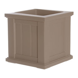 "Mayne Inc. - Cape Cod Patio Planter 14x14 Clay - Looking to upgrade your outdoor space? Enhance the look of your patio or front entrance with a selection of Mayne's Cape Cod planter collection. With rich architectural detail you can easily transform your patio into your own personal retreat. The Cape Cod planters also feature a water-reservoir that creates a self watering effect to keep your plants looking fresh! The Cape Cod collection features a beaded panel design. Our molded plastic planters are made from high-grade polyethylene, double wall design.  Sub-irrigation water system, encourages root growth. Inside dimensions are 10""L x 10""W x 10.5""D, approximately 3.1 gallon soil capacity.  Water reservoir capacity is approximately is 2 gallons (7.5 litres). 15-year limited warranty."