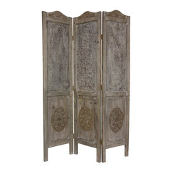 Oriental Furniture - 6 ft. Tall Closed Mesh Design Room Divider - This distinctive three-panel floor screen has been hand-carved in a vintage, Old World style. Each panel has been carefully painted, stained, sanded, rubbed and re-rubbed to create a distressed wood finish with the type of character usually only present antique furnishings.
