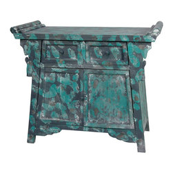 Oriental Furniture - Distressed Altar Cabinet - Distressed oriental altar cabinet finished in an artsy teal paint dab pattern. Rustic and creative take on a traditional piece of Asian furniture. Frame features classic upturned ends with ornamental winged supports and apron. Both the double-door cabinet and the two drawers have painted wood knobs. The design incorporates traditional aspects of Ming era altar cabinets.