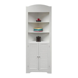 River Ridge - Ellsworth Tall Corner Etagere in White - Convenient corner design with two door shutter styling in a tall cupboard. ncludes three open shelves on top for additional storage or display space and one shelf in the bottom cabinet. MDF Wood Composite. White painted finish. Easy assembly. 16.73 in. L x 23.22 in. W x 71 in. H ( 49 lbs.)