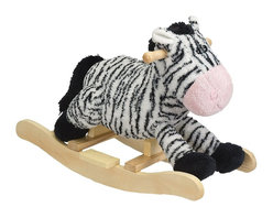 """Charm Co. - Zany Zebra Rocker with Sound - This adorable toddler zebra rocker features a """"baby blanket"""" soft white body with black stripes. This rocking zebra sits low to the ground to provide a soft and comfortable ride for toddlers. There is a sound feature, which requires 2AA batteries (not included). Add Zany Zebra to your nursery!"""