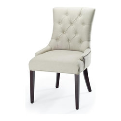 Safavieh - Burbank Burbank Amanda Chair - A buttoned-up elegance infuses the linen upholstered Burbank Amanda Chair in taupe fabric with cherry mahogany finished legs. A high back, curved rear legs and modest sloped arms produce a sophisticated profile at home in formal settings.