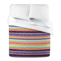 DENY Designs Khristian A Howell Valencia 04 Duvet Cover - Adorn your bed in the fun design of the DENY Designs Khristian A Howell Valencia 04 Duvet Cover. Small polka dots are lined up in a row in this pastel colored design. Small metal snaps are included on this ultra-soft, polyester microfiber duvet cover to ensure a secure closure to your bed. Machine washable, this comfy cover is available in your choice of three sizes.About DENY DesignsDenver, Colorado based DENY Designs is a modern home furnishings company that believes in doing things differently. DENY encourages customers to make a personal statement with personal images or by selecting from the extensive gallery. The coolest part is that each purchase gives the super talented artists part of the proceeds. That allows DENY to support art communities all over the world while also spreading the creative love! Each DENY piece is custom created as it's ordered, instead of being held in a warehouse. A dye printing process is used to ensure colorfastness and durability that make these true heirloom pieces. From custom furniture pieces to textiles, everything they make is unique and distinctively DENY.