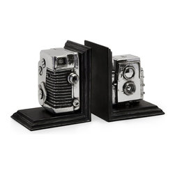 iMax - iMax Vintage Camera Bookends X-33163 - Replicated vintage camera bookend storage boxes