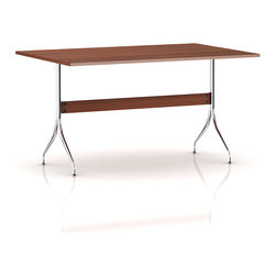 Herman Miller - Herman Miller Nelson Swag Leg Work Table - Its design may be over 50 years old, but this hardworking desk has the look, scale and functionality that make it a perfect fit for today's home. Swag legs made from steel tubes and a walnut veneer top make it a midcentury modern find. It's sized just right for your laptop and MP3 dock with minimal space.