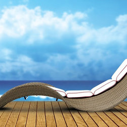 TOSH Furniture - Stackable Cross Weaving Chaise Lounge - TOS-GW3067-L1 - UV and weather resistance