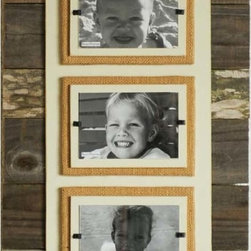 """Reclaimed Wood & Burlap Frame - Triple - Similar in style to the Triple Wood and Corrugated Metal Frame, this weathered wood piece focuses more on the background slats, but uses a cream or brown backboard and simply wrapped burlap front loading Plexiglas photo holders. Will house three 4"""" x 6"""" photos either horizontally or vertically. Great for featuring grandkids or age progressive photographs. Excellent gift idea!"""