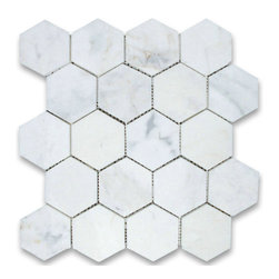 """Stone Center Corp - Calacatta Gold Marble Hexagon Mosaic Tile 3 inch Polished - Calacatta gold marble 3"""" (from point to point) hexagon pieces mounted on a sturdy mesh tile sheet"""