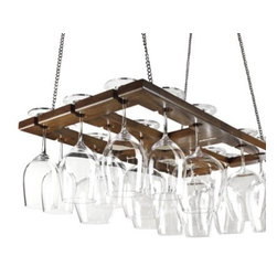 Hanging Oak Stemware Rack - Wine is something I really enjoy here at my house, and I love this non-traditional way of storing great glassware with this hanging rack. It's a fun switch-out from the usual pot rack.