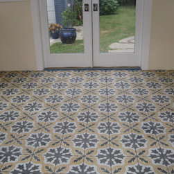 Mission Style Cement Tiles from Royal Stone & Tile - Mission Style Cement Tiles from Royal Stone & Tile can be used on bathroom, living area and kitchen floors as well as the kitchen backsplash, stair risers, and exterior applications.  Custom made with over 500 pattern / color options available.