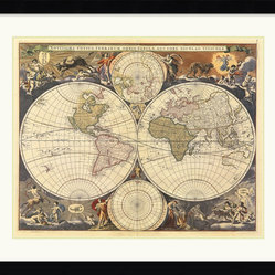Amanti Art - New World Map, 17th Century Framed Print by Ria Visscher - Global awareness begins at home. This stunningly detailed reproduction of a 17th century map is sure to inspire interest wherever you hang it.