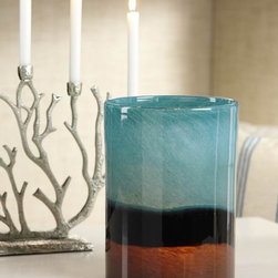 Curacao 3-Tone Glass Vase / Candle Holder - Add some contemporary coastal style to your tablescape with this gorgeous frosted mouth blown glass vase. It also works as a candle holder.