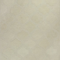Kas - Arabesque Ivory Eternity Modern 5' x 8' Kas Rug  by RugLots - Step into our world and experience a multi-textured masterpiece from our Eternity Collection. Hand-tufted in India of 100% quality wool, these rugs are woven using multi-textured wool, a versatile color palette and a Hi/Lo effect, bringing modern simplicity into our lives. The combination of timeless colors and a variety of textures will create an everlasting presence in any room while setting the foundation for any decorating style.