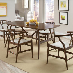 """Coaster - Weller Dining Table - Enhance your dining space with this swanky mid-century modern dining collection. It is crafted in solid wood with a walnut finish, giving it a modern look and feel. Including one rectangular table and coordinating side chairs, it is ideal for lofts and condos. The chairs have a classic contemporary design made for extraordinary support. Weller Dining Table only. Chairs not included.; Collection: Weller; Style: Casual; Finish/Color: Walnut; Room Size: Small to Moderate; Quick and Easy set up; Dimensions: 70.75""""L x 35.25""""W x 30.00""""H"""