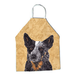"""Caroline's Treasures - Australian Cattle Dog Apron SC9141APRON - Apron, Bib Style, 27""""H x 31""""W; 100% Ultra Spun Poly, White, braided nylon tie straps, sewn cloth neckband. These bib style aprons are not just for cooking - they are also great for cleaning, gardening, art projects, and other activities, too!"""