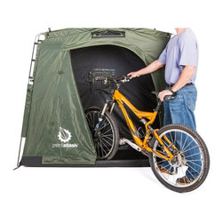YardStash - Yardstash III Portable Outdoor Storage Tent - YSLH05 - Shop for Sheds and Storage from Hayneedle.com! YardStash III Portable Outdoor Storage Tent . Space saving size and water shedding design to easily stash two adult bikes pool floats and supplies such as; kids toys lawn mowers long handled garden tools and other outdoor gear. Made with heavy duty materials 2.5 times heavier than other storage tents. A reinforced integrated floor large zippers with storm flaps a back panel for locking bikes to a fence or pole and front mesh vent to eliminate condensation. Industrial grade ripstop vinyl tarpaulin roof with UPF 50+ protection and a polyester body bonded to interior weatherproof coating. Full top and bottom zippers on door to completely seal the door and provide full protection against water dust and pests. Quick and easy 15 minute set-up. Assembled dimensions: 74W x 30D x 65H inches. The YardStash III builds on the success of the top selling and top rated YardStash II and includes new features for superior outdoor storage and protection from Mother Nature. Built from tough heavy duty weatherproof and UV protected materials the YardStash III provides high quality space saving outdoor storage oraganization and protection for your bicycles. Fits two adult bikes with room to spare. A great alternative to sheds bike covers flimsy storage tents and plastic storage boxes. Easily store organize and secure your gear to reclaim your yard garage deck and other outdoor living spaces. The industrial grade rip proof tarpaulin roof is built to last and easily sheds rain and snow to keep your gear dry. Full zippers on the top and bottom of the door provide complete protection against dust water and insects. Carrying bag is included for easy portability and storage.