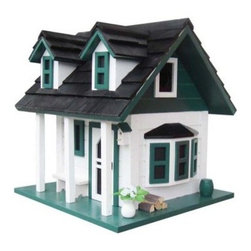 Home Bazaar Green Gables Birdhouse - Talk about affluent avians! The Home Bazaar Green Gables Birdhouse in white with green accents and a black roof will give your birds the best-looking house on the block! This adorable cottage features a bay window, twin front dormers, a stone chimney with cap, lilac flowers, a screened front door, and even more decorative details that radiate personality and charm. It also comes with a mounting plate for easy installation on a wooden 4x4 and a steel cable for hanging.About Home BazaarCombining their love of birds and nature with their technical and design abilities, the people of Home Bazaar set out to create the world's most spectacular line of birdhouses and birdfeeders in 1999. They've even created a line of architectural birdhouses, feeders, pedestals, and garden accessories. These items are created using only the finest materials and with painstaking attention to detail. Each product is manufactured for functional use and to be enjoyed for years. Distinctive bird houses and feeders can be matched with accommodating pedestals and these pieces can be placed in the backyard or the garden. Cottage designs and pieces with Victorian scrollwork often end up on covered porches or inside the home as decorative accents.