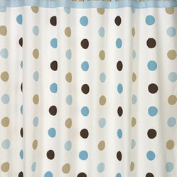 Mod Dots Blue & Chocolate Shower Curtain