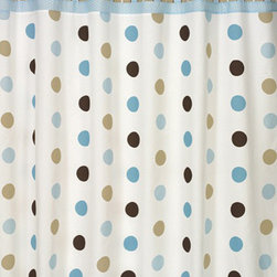 "Sweet Jojo Designs - Mod Dots Blue & Chocolate Shower Curtain - The Mod Dots Blue & Chocolate Shower Curtain is a great way to make over your child's bathroom. Add a designer's touch and some fun colors to your bathroom with this lovely Shower Curtain.  The Shower Curtain measures 72"" x 72"" and is machine washable. Shower hooks and liner are not included."