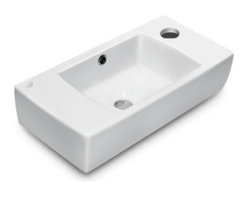CeraStyle - 20 Inch Ceramic Wall Mounted or Self Rimming Sink - This beautiful 20 inch wall mounted or self rimming bathroom sink is made out of the highest quality white ceramic. Sink is ADA Compliant and includes a single overflow and faucet hole. Made and manufactured by luxury Turkish brand CeraStyle.