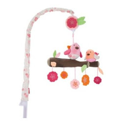 Skip Hop - SKIP*HOP Musical Crib Mobile in Springtime Birdie - Soothe baby to sleep with this musical crib mobile. As the floral-patterned arm of the mobile gently rotates slowly to a classical tune, baby can gaze at the multiple colors, faces and patterns above.