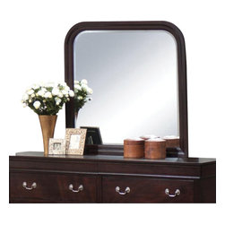 """Coaster - Coaster Louis Philippe Curved Frame Mirror in Cappuccino - Coaster - Mirrors - 203984N - This elegant mirror will be a wonderful addition to your traditional master bedroom. The piece has a softly curved frame in warm wood. Create depth and brightness in your space with this reflective mirror. Place the mirror above the matching dresser for a complete ensemble in your calming bedroom. Available in both a warm Cherry finish and deep Cappuccino finish this piece will complement your decor.Deep Cappuccino finishConstructed from wood veneers and rubberwood solidsTraditional styleAntique style metal bail handles.Smooth tops with shapely molded edgesSpecifications:Overall product dimensions: 36""""W x 1""""D x 40""""H"""
