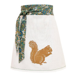 artgoodies - Organic Block Print Squirrel Apron - Each organic apron is hand printed with an original hand carved block print by Lisa Price. The band and ties are made of a coordinating vintage-style fabric and the embroidered accent at the bottom sets the fabric off just right! Dazzle your kitchen on any ordinary day or be the cutest hostess ever!