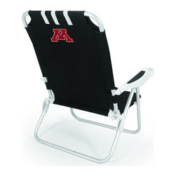 "Picnic Time - University of Minnesota Monaco Beach Chair Black - The Monaco Beach Chair is the lightweight, portable chair that provides comfortable seating on the go. It features a 34"" reclining seat back with a 19.5"" seat, and sits 11"" off the ground. Made of durable polyester on an aluminum frame, the Monaco Beach Chair features six chair back positions and an integrated cup holder in the armrest. Convenient backpack straps free your hands so you can carry other items to your destination. Rest and relaxation come easy in the Monaco Beach Chair!; College Name: University of Minnesota; Mascot: Golden Gophers; Decoration: Digital Print"