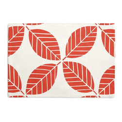 Coral Modern Leaf Custom Placemat Set - Is your table looking sad and lonely? Give it a boost with at set of Simple Placemats. Customizable in hundreds of fabrics, you're sure to find the perfect set for daily dining or that fancy shindig. We love it in this modern outdoor trellis of tropical leaves in bright coral red & white. it's ready to soak up the sun!