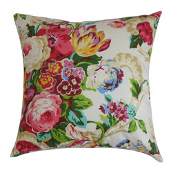 """The Pillow Collection - Khorsed Floral Pillow, Pink - Recreate your garden inside your home by adding this floral accent pillow. This decor pillow lends a fresh and romantic garden-theme design with its blooming floral pattern. With spring-inspired colors like pink, purple, blue, yellow, red, green and white, this throw pillow creates a soothing effect. You can make this 18"""" pillow the highlight piece in your living room, bedroom or lounge area. This square pillow provides comfort with its 100% high-quality cotton fabric. Hidden zipper closure for easy cover removal.  Knife edge finish on all four sides.  Reversible pillow with the same fabric on the back side.  Spot cleaning suggested."""