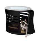 DenHaus - ZenHaus Small Black Pet Den - - Handcrafted by artisans in polished fiberglass, this designer dog den is topped with opaque, shatterproof glass that brings in the light and features a swing door that can be removed. - Fiberglass means that our ZenHaus Dens are extremely durable and light. - Hand-crafted means each ZenHaus Den is unique and well-made. - Multiple vents on all sides provide excellent ventilation and a 360 degree view for your companion inside.- *Good to know: Since each and every ZenHaus is handmade, there are slight differences, or irregularities, in each one.- Weight: 30 lbs.