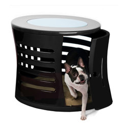 DenHaus - ZenHaus Black Pet Den - - Handcrafted by artisans in polished fiberglass, this designer dog den is topped with opaque, shatterproof glass that brings in the light and features a swing door that can be removed. - Fiberglass means that our ZenHaus Dens are extremely durable and light. - Hand-crafted means each ZenHaus Den is unique and well-made. - Multiple vents on all sides provide excellent ventilation and a 360 degree view for your companion inside.- *Good to know: Since each and every ZenHaus is handmade, there are slight differences, or irregularities, in each one.- Weight: 30 lbs.