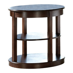 "Steve Silver Company - Steve Silver Company Crestview Oval End Table in Espresso Finish - Steve Silver Company - End Tables - CV550E - Circles align to create the contemporary look of the Crestview Collection. The Crestview Oval End Table stands 24"" high with a 26"" oval top 26"" oval bottom and one shelf in between. This impressive piece complements the Crestview spinning cocktail table and sofa table."