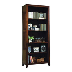 """Hooker Furniture - Danforth Tall Bookcase - White glove, in-home delivery!  For this item, additional shipping fee will apply.  Danforth's styling is inspired by British campaign sea chests from the colonial era.  A rich medium brown finish is rendered on birch solids and cherry veneers.  Recessed campaign hardware is used on drawers and doors.  Three adjustable shelves, one stationary shelf, finished top, levelers.  Bottom Stationary Shelf Space: 30"""" w x 12 7/8"""" d x 11 1/8"""" h  Top Clear Opening: 30"""" w x 12 7/8"""" d x 57.25"""" h"""