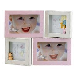 Lawrence Frames - 4x6 and 4x4 Multi Opening Pink Leatherette Picture Frame - Adorable four-opening pink and ivory baby frame.  Holds two 4x6 horizontal photos and two 4x4 photos.  The fronts of all frames are covered with beautifully stitched pastel leatherette.