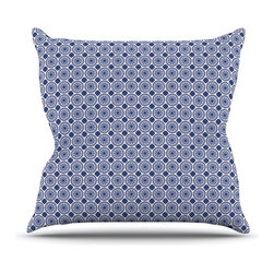 """Kess InHouse - Carolyn Greifeld """"Bohemian Blues II"""" Blue Geometric Throw Pillow (20"""" x 20"""") - Rest among the art you love. Transform your hang out room into a hip gallery, that's also comfortable. With this pillow you can create an environment that reflects your unique style. It's amazing what a throw pillow can do to complete a room. (Kess InHouse is not responsible for pillow fighting that may occur as the result of creative stimulation)."""