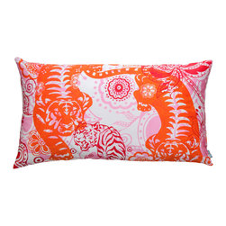 """KOKO - Wild Pillow, Tiger, 15"""" x 27"""" - It's gr-r-r-r-r-eat! This screen-printed pillow is both fierce and fun, and an ideal complement to your eclectic style. Its cotton fabric, imported from India, is easy care — just slip it off the insert and machine wash."""